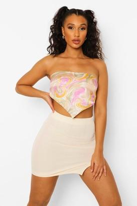 boohoo Bandage Split Hem Mini Skirt