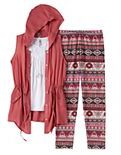 Knitworks Girls 7-16 & Plus Size Anorak Vest, Tank Top & Patterned Leggings Set with Necklace