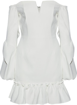 Nicholas Off-the-shoulder Fluted Crepe Mini Dress