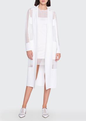 Akris Lace-Inset Open Front Duster Coat