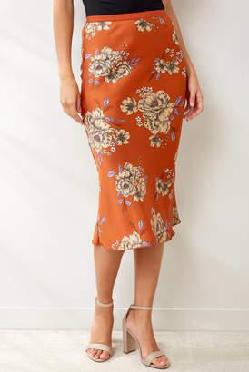 Hashtag Rust Floral Midi Skirt Rust S