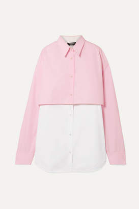 Calvin Klein Two-tone Layered Cotton-poplin Shirt - Baby pink