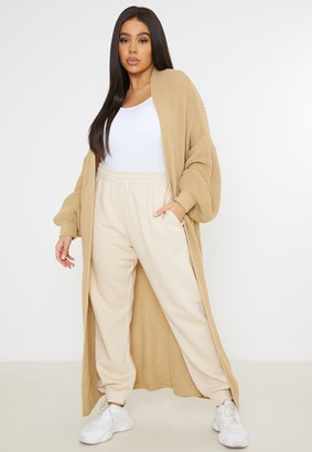 Missguided Plus Size Camel Batwing Maxi Knitted Cardigan