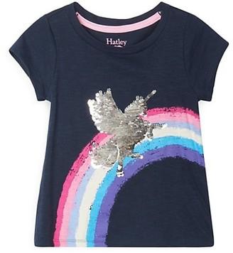 Hatley Little Girl's & Girl's Shimmer Unicorn Flip Sequin T-Shirt