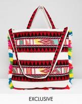 Reclaimed Vintage Inspired Patterned Tassel Shopper Bag