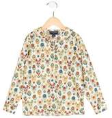 Oscar de la Renta Girls' Printed Button-Up Top