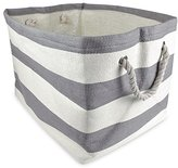 DII Woven Paper Textured Storage Basket, Collapsible & Convenient Storage Solution for Office, Bedroom, Closet, Toys, Laundry - Large, Gray Stripe