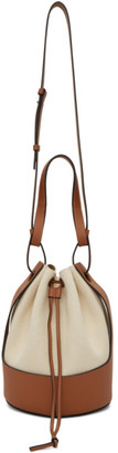 Loewe Off-White and Brown Canvas Balloon Bag