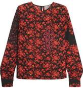 Preen by Thornton Bregazzi Kira Floral-Print Hammered-Silk Top