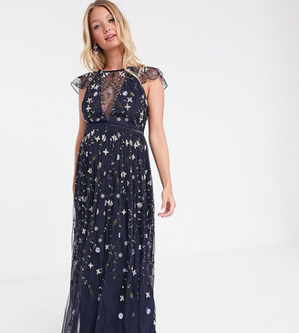 ASOS DESIGN Maternity pretty embroidered floral and sequin mesh maxi dress