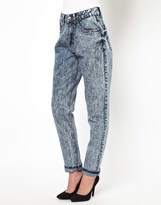 Daisy Street Mom Jean in Acid Wash