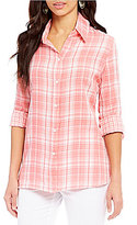 Allison Daley Button Front Plaid Blouse