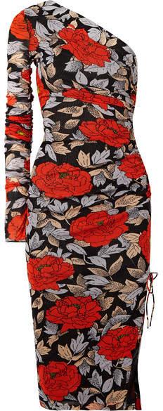 Diane von Furstenberg One-shoulder Ruched Floral-print Mesh Midi Dress - Black