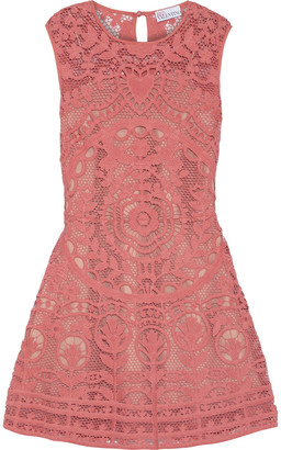 RED Valentino Flared Cotton Guipure Lace Mini Dress