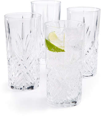 Martha Stewart Closeout! Collection Set of 4 Cut-Glass High Ball Glasses