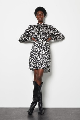 Karen Millen Ruffle Zebra Print Lined Dress