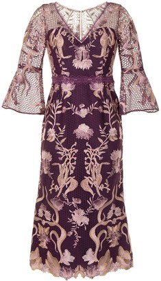 Marchesa Notte Floral Embroidered Mid-Calf Dress