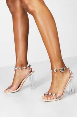 boohoo Embellished Clear 2 Part Heels
