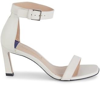 Stuart Weitzman Nudist Leather Ankle-Strap Sandals