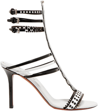 Alaia 90 Two-tone Laser-cut Leather Sandals