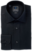 David Donahue Solid Trim Fit Dress Shirt