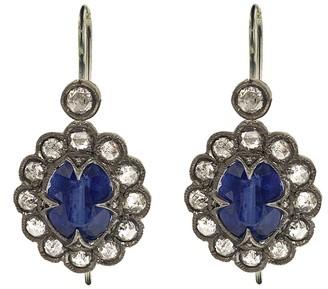 Cathy Waterman Kyanite Lace Edge Drop Platinum Earrings