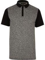 River Island Mens Grey block polo shirt