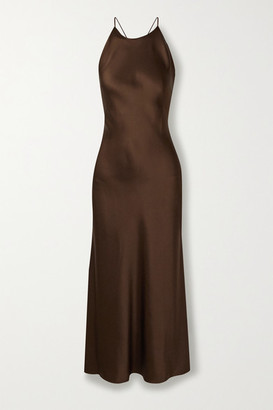 Rosetta Getty Open-back Satin Midi Dress - Chocolate