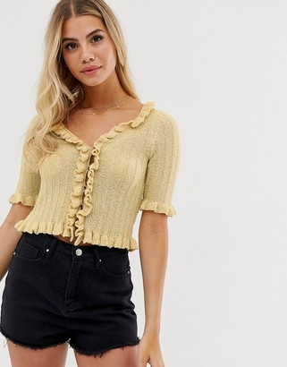 Asos Design DESIGN cropped cardigan with ruffle edges-Yellow