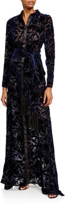 Galvan Winter-Jungle Velvet Shirt Gown