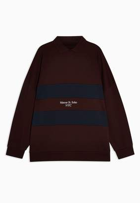 TopmanTopman Burgundy Colour Block NYC Rugby Top