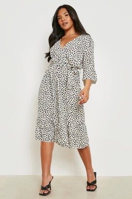 boohoo Plus Ruffle Hem Spotty Wrap Dress