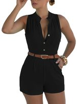 Merry Mou Store Women Sexy Bodysuit Button Front Belted Romper Playsuits Summer Overalls Jumpsuit