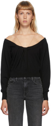 Alexander Wang Black Draped Neck Pullover Sweater