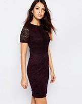 Warehouse Paneled Short Sleeve Lace Dress