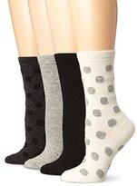 Steve Madden Legwear Women's Four-Pack Dot Boot Socks