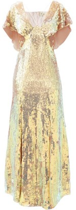 Temperley London Bardot Sequinned Dress - Gold