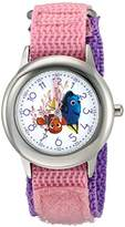 Disney Girl's 'Finding Dory' Quartz Stainless Steel and Nylon Watch, Color:Pink (Model: W003099)
