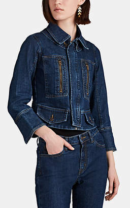 Barneys New York Women's Peplum-Hem Denim Trucker Jacket - Blue