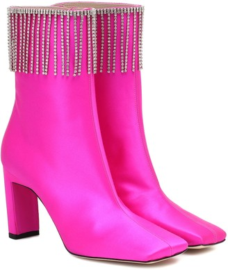 Wandler Isa embellished satin ankle boots