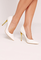 Missguided White Faux Leather Transparent Heel Pumps