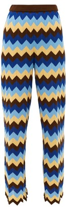M Missoni High-rise Zigzag Cotton Wide-leg Trousers - Womens - Blue Multi