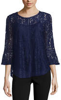 Liz Claiborne 3/4 Bell Sleeve Lace Top