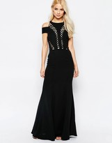 Jarlo Cold Shoulder Maxi Dress With Lace Detail
