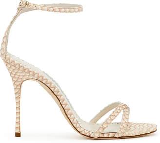 Manolo Blahnik Paloma 105 beige degrade snake sandals