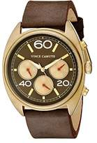 Vince Camuto The Transporter Unisex Quartz Watch with Brown Dial Analogue Display and Brown Leather Strap VC/1052RDGLP