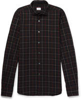 Incotex Slim-fit Checked Cotton And Linen-blend Shirt - Navy