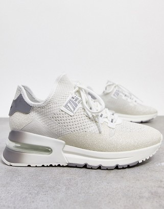 Ash krush glitter runner chunky trainers in white silver mix
