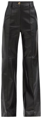 Gucci Flared Leather Trousers - Black