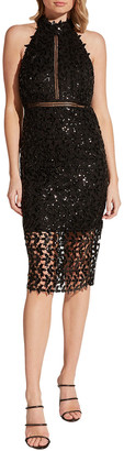 Bardot Sequined Leaf Halter Cocktail Dress